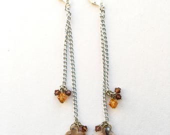 Fringe Chain Earrings, Swarovski Crystal Earrings