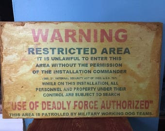 """Vintage Retro Wood """"Deadly Force Authorized"""" Sign Military Army Air Force Navy Marine Corps Retirement Gift"""
