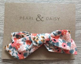 Hair bow clip, little girl hair accessory, Floral