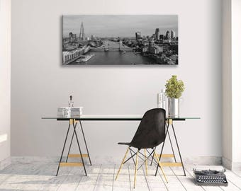London Skyline Black And White City Panorama Canvas Wall Art Picture Home Decor
