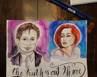 The Truth is Out There, 9x12 original watercolor, The X Files
