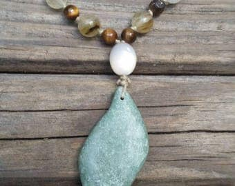 Sage green gemstone pendant necklace