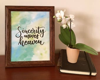 Calligraphy print - Sincerity moves heaven