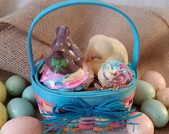 Easter Bath Bomb Gift Set, Bubble Bath, Bath Bomb Cupcake Gift Set, Chocolate Scented, Fruit Loops Scented, Made In USA, For Kids, For Adult
