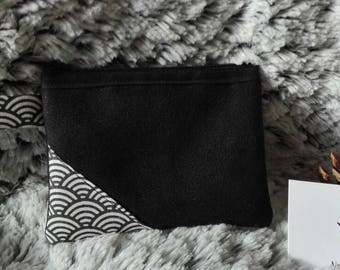 Suede black Japanese pattern coin purse