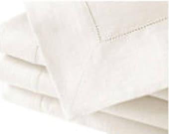 Rectangular cotton/linen white tablecloth