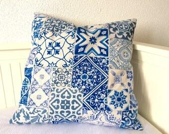 Portuguese Tile Pillow Cover