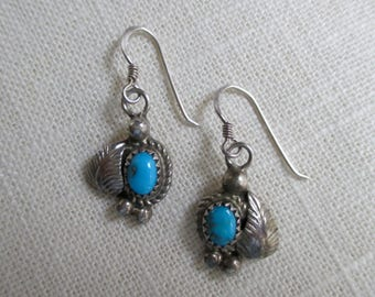 Turquoise and Sterling SIlver Drop Earrings with Leaf Accent