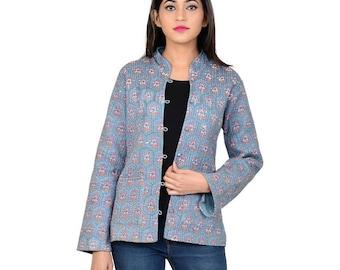 Indian Handmade Floral Block Print Grey Cotton Women Regular Fit Jacket