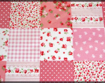 Self-adhesive fabric sheet A4 printed patchwork pink white red