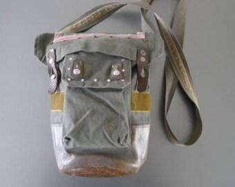 Designer Customised Vintage Khaki Swedish Military Väska Gas Mask Army Shoulder Bag – UNIQUE!