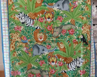 Cot size Jungle panel for you to quilt