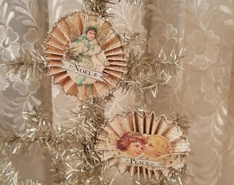 Vintage Victorian Angel Ornaments Rosette Christmas Ornaments Antique Glitter Christmas Ornaments Set of 2