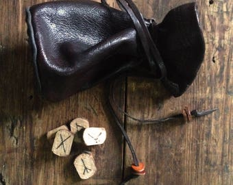 Viking Runes with Leather Pouch | Pine Wood Rune Set | Norse Runes Divination | Wooden runes | Elder Futhark | Pagan