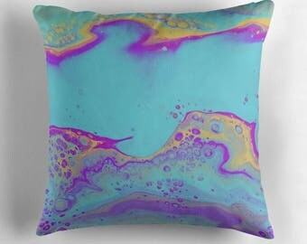 Original Art Print Throw Cushion. Pre Order, Custom Order. Spring Bubbles.