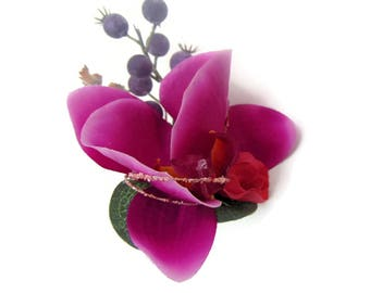 Silk Orchid Corsage boutonniere Free Delivery