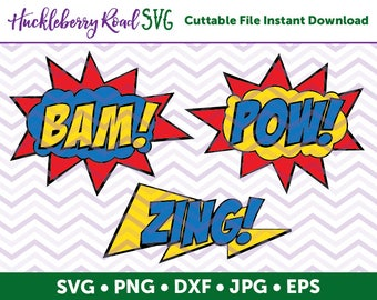 Superhero Speech Bubble SVG File Bam! Pow! Zing! - Small Business Commercial Use / Personal Use
