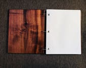 8 1/2 X 11 Professional 100% WALNUT Wooden Notebook Journal Portfolio with Binder Rings