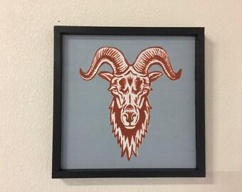 Ram's Head Hand Painted Wall Art