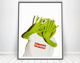 Kermit The Frog Supreme Print Kermit Supreme Shirt Fashion Art The Muppets Supreme Wall Art Supreme Accessories Supreme Merch Supreme Poster