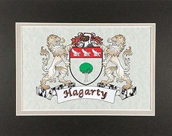 "Hagarty Irish Coat of Arms Print - Frameable 9"" x 12"""