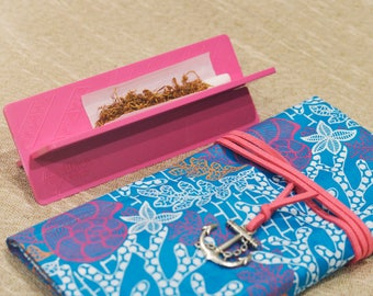 Rolling Smoking Pouch in Pink & Blue Mermaid Wax Print with Shell Roach Clip - Smoking Accessories | Rolling Accessories