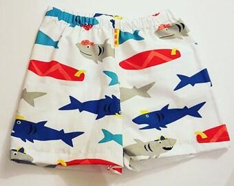Frugi Fabric Hand Made Organic Cotton Shorts - Shark , Surfer