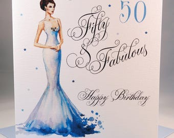 50 and Fabulous Birthday Card - Glamorous fifty years old