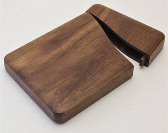 Wooden business card into standard Walnut