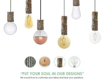 Tree Bark Pendant Light. Rustic Pendant Light. Natural Pendant Light. Custom Lighting. Natural Nordic Lighting
