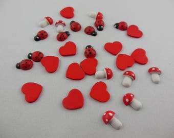 Red Lady bug, mushroom, and heart embellishments