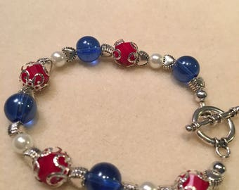 Glass Beaded Independence Day Bracelet