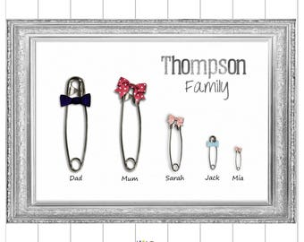 Family Print, Custom Family Tree, Digital Download, Personalised Pin Family, Family Printable, Family Gift, Wall Art for the Family,