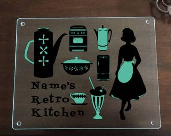 Retro 1950s Kitchen with Name Customization - Custom Glass Cutting Board