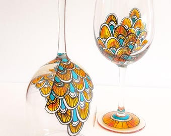 Hand Painted Teal & Orange Scalloped Wine Glasses