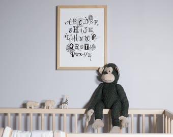 Alphabet Print (L&L Grey Pictured)