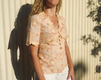 Pastel Blouse with Embroidered Floral Detail