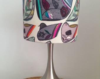 Handmade Drum Lampshade in Pigeon Print