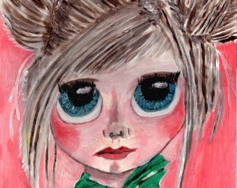"""A3 """"Print"""" of Acrylic Painting Little Person """"Daphne"""" by Treborre. Take Her Home Today"""