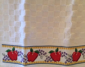 Apples and grapes cross stitched kitchen towel