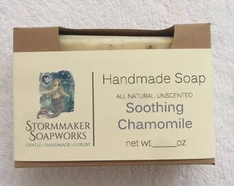All Natural Chamomile Bar Soap, Herbal Bath Bar, Soothing, Moisture Loving, Vegan