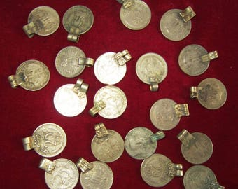 50 VINTAGE Banjara Tribal Kuchi COINS with loops LOT Belly dance India