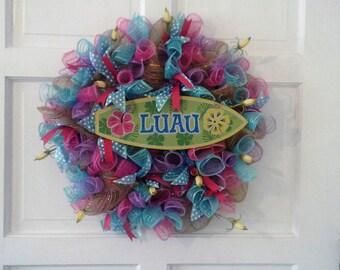 Spring Door Wreath - Front Door Wreaths - Summer Wreath for Front Door-Hawaiian luau wreath- beach party wreath