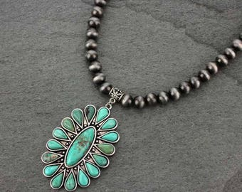 """Natural Turquoise Necklace 16"""" Pewter Navajo Pearl Necklace & 5"""" Extender Pendant-N731714009"""