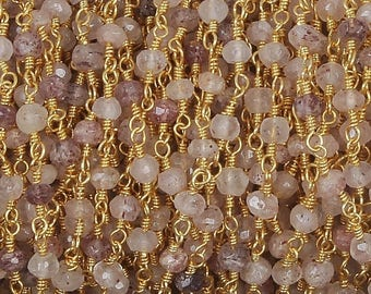 50% off 5 Feet Strawberry Quartz Beaded Chain 3.5-4mm Rosary Chain, Strawberry Quartz Beaded 24K Gold Plated Wire Wrapped Chain CH143
