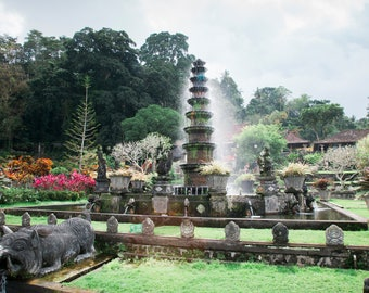 Tirta Gangga Water Temple, Travel Photo, Large Wall Decor, Landscape Photography, Contemporary Art, Photos on Wood