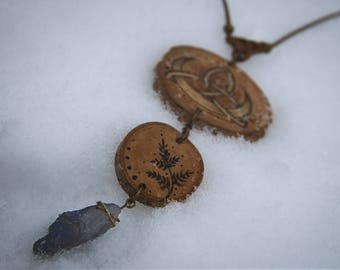 Moon triquetra wood burned pendant, fern pendant, quartz crystal, pagan necklace, magic, pagan pendant.