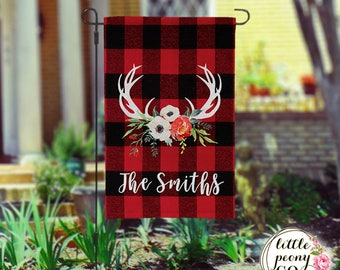 Personalized Garden Flag - Antler and Floral Bouquet Flannel Custom Yard Flag