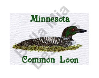 Duck - Machine Embroidery Design, Common Loon