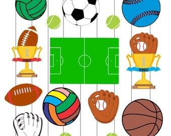 INSTANT DOWNLOAD - Sport Svg, Balls clipart, Football svg, Soccer svg,Baseball Svg, Sports svg, Volley, Sport Dxf, Balls dxf,Sport balls svg